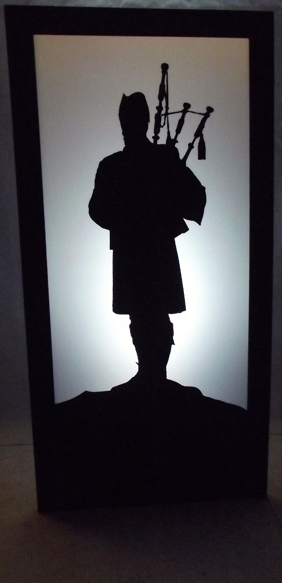Scottish Bagpiper Silhouette Panel