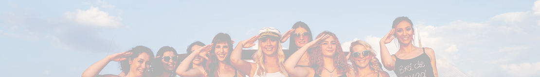 hen party saluting on a boat